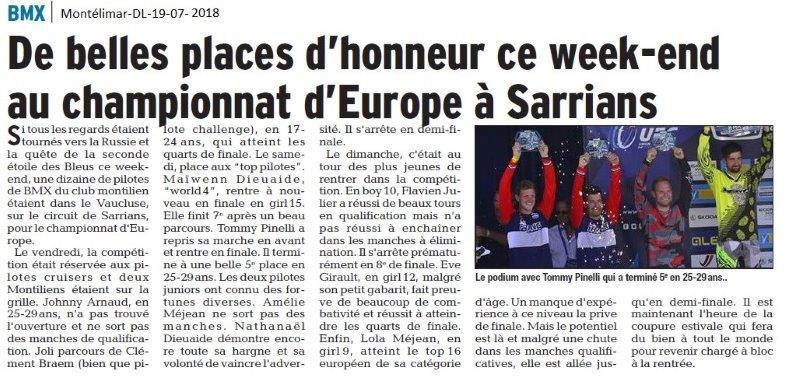 Dauphiné Libéré du -19-07-2018-Place d'Honneur pour le BMX Montélimar