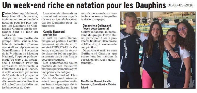 Dauphiné Libéré du 03-05-2018- Les Dauphins de Guilherand-Granges