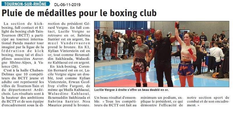 Le Dauphiné Libéré du 06-11-2019- Le boxing club de Tournon.