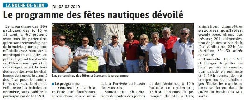 Dauphiné Libéré du 03-08-2019- Fête nautique La Roche de Glun