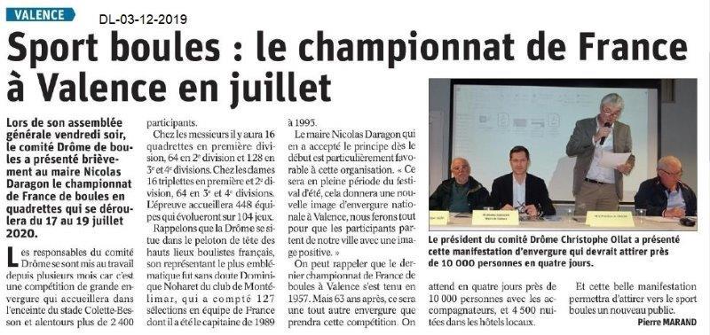 Dauphiné Libéré du 03-12-2019- A noter-Sport Boules 2020