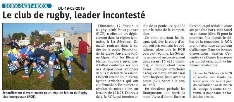 Dauphiné Libéré du 19-02-2019- Club de Rugby Bourguesan