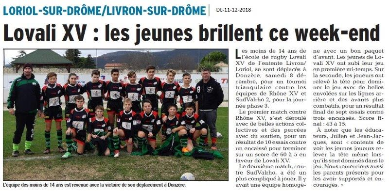 Dauphiné Libéré du -11-12-2018- Lovali XV de Lorio