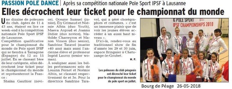 Dauphiné Libéré du 26-05-2018-Pole Dance à Bourg de Péage
