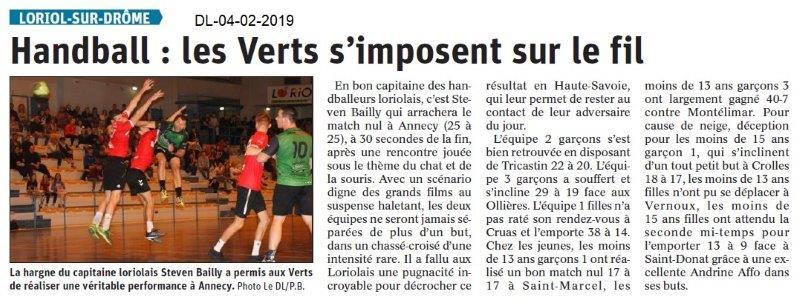 Dauphiné Libéré du 04-02-2019- Le handball de Loriol
