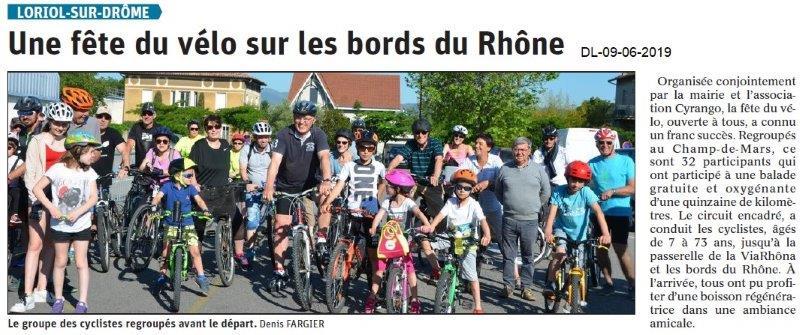 Dauphiné Libéré du 08-06-2019- Fête du vélo à Loriol