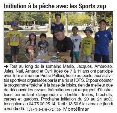 Dauphiné Libéré du 10-08-2018- Les jeunes et la pêche avec Pierre