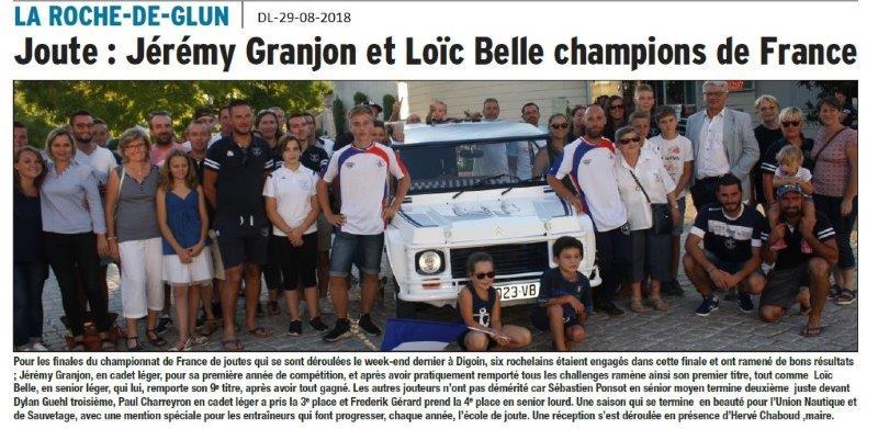 Dauphiné Libéré du 29-08-2018- Accueil de deux champions de France