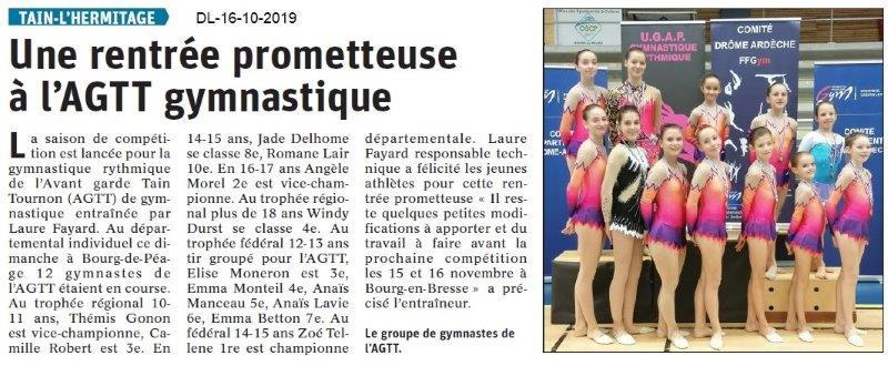 Dauphiné libéré du 17-10-2019- AGTT Gymnastique