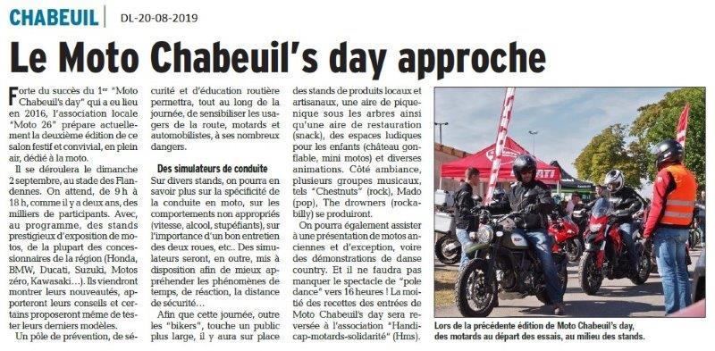 Dauphiné Libéré du 20-08-2018- Bientôt le Moto Chabeuil's day