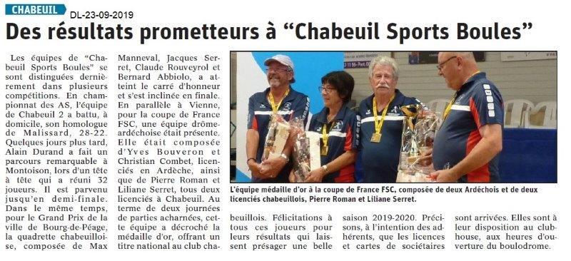 Dauphiné libéré du 23-09-2019- Sports Boules de Chabeuil