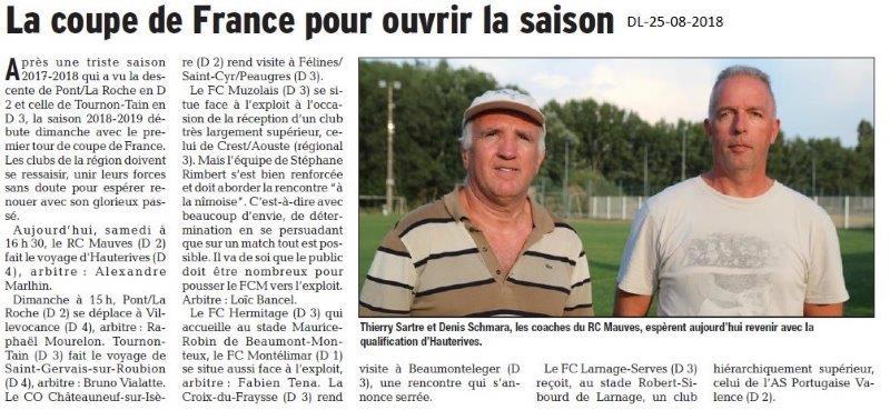 Dauphiné Libéré du 25-08-2018- Coupe de France