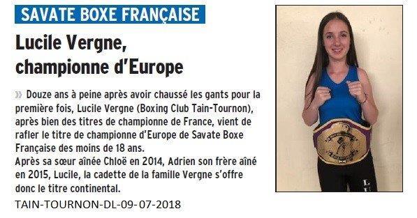 Dauphiné Libéré du 09-07-2018- Lucile Vergne Championne