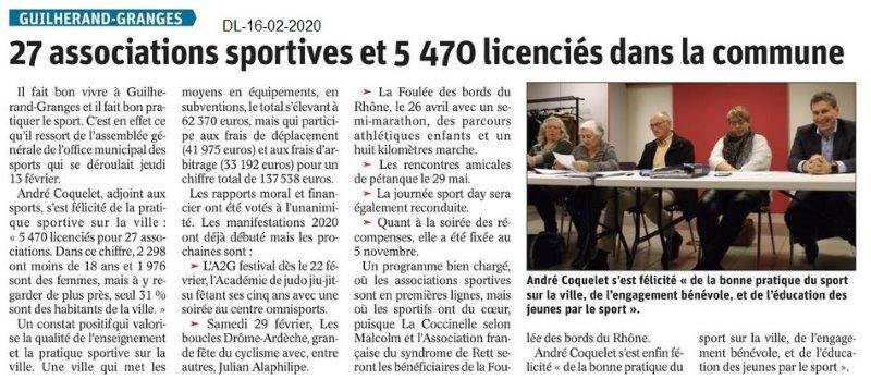 Le Dauphiné Libéré du 16-02-2020- AG OMS Guilherand