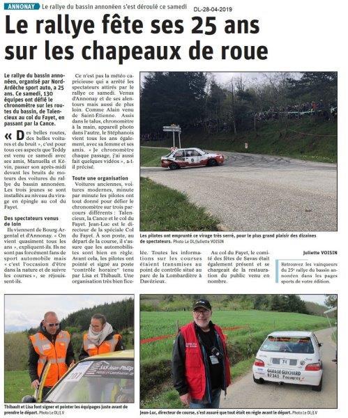 Le Dauphiné Libéré du 28-04-2019- Rallye Annonay