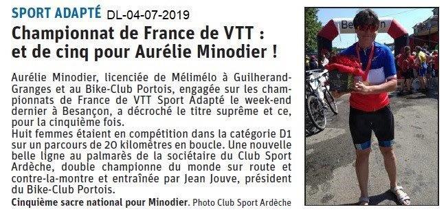 Dauphiné Libéré du 04-07-2019- Aurelie Minaudier PLV