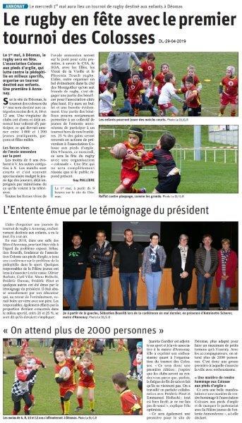 Le Dauphiné Libéré du 29-04-2019- Rugby en fête à Annonay