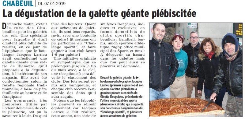 Dauphiné Libéré du 07-01-2019- Chabeuil-Ginette et la galette