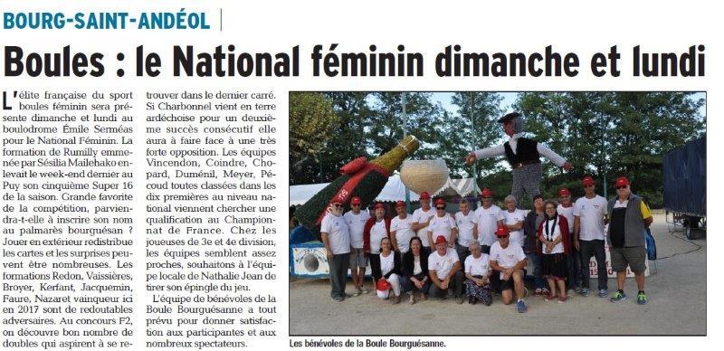 Dauphiné Libéré du 31-03-2018-Bénévoles au National féminin Boules-Bourg Saint-Andéol