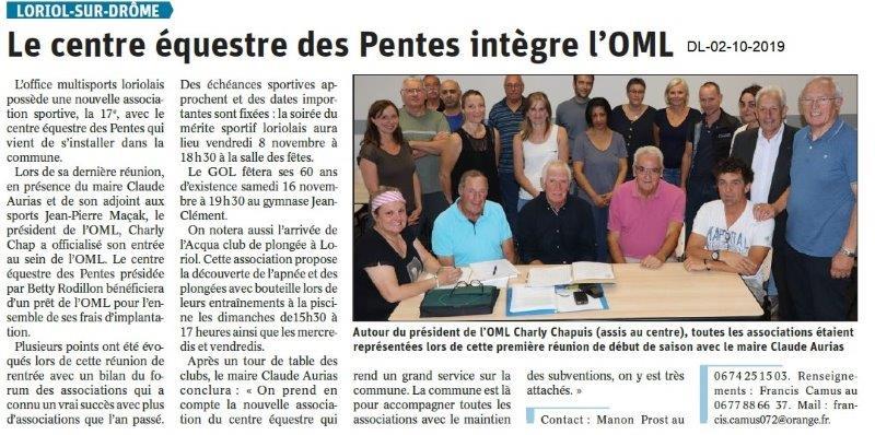 Dauphiné libéré du 02-10-2019- Nouvelle association à l'OMLorilais