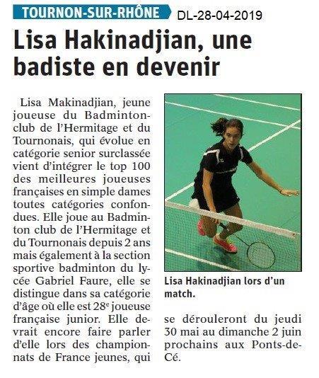 Le Dauphiné Libéré du 28-04-2019- Badminton Tournon
