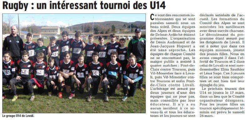 Dauphiné Libéré du 07-03-2018 Rugby-Loriol