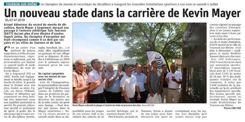 Dauphiné Libéré du 07-07-2019- Tournon-Stade Kevin Mayer