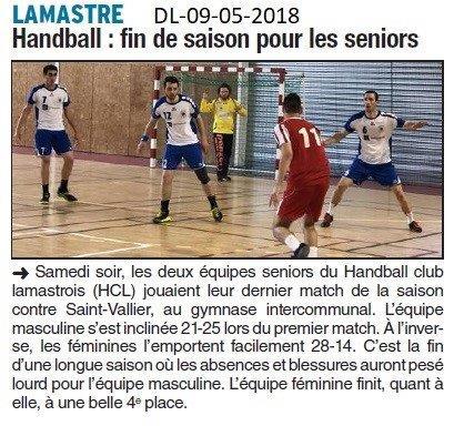 Dauphiné Libéré du 09-05-2018-Handball- Lamastre