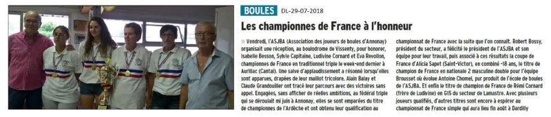 Dauphiné Libéré du 29-07-2018- Des champions de France à Annonay