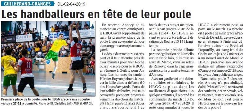 Le Dauphiné Libéré du 02-04-2019- Handballeurs de Guillerand
