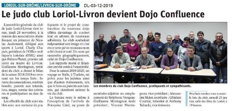 Dauphiné Libéré du 03-12-2019- Club de Judo Loriol-Livron