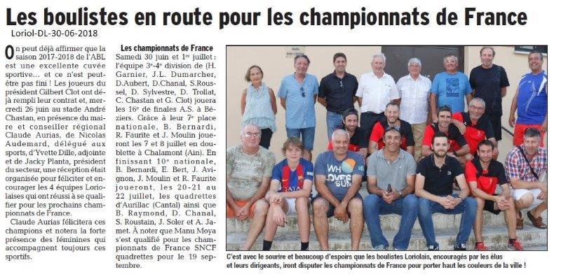 Dauphiné Libéré du 30-06-2018- Les boulistes de Loriol qualifiés