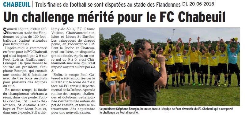 Dauphiné Libéré du 20-06-2018-Foot à Chabeuil