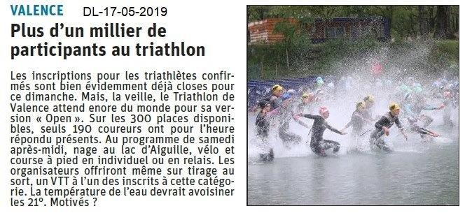 Le Dauphiné Libéré du 17-05-2019- Triathlon à Valence