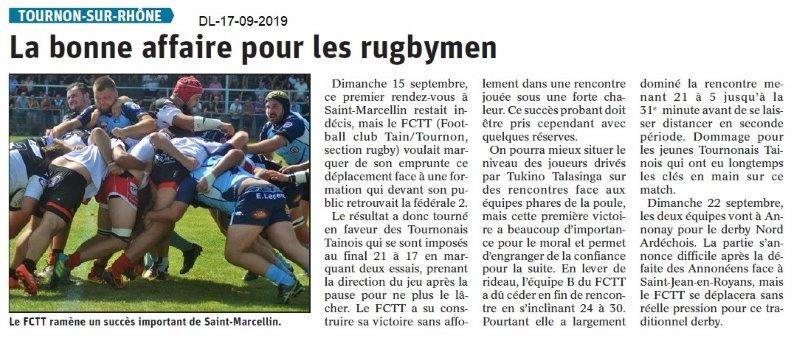 Dauphiné libéré du 17-09-2019- Rugby Tain-Tournon