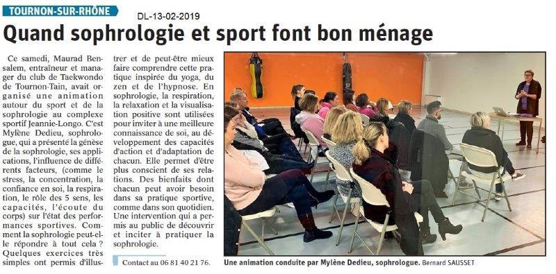 Dauphiné Libéré du 13-02-2019- Sophrologie et sport Tournon