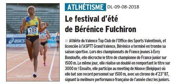 Dauphiné Libéré du 09-08-2018- Belles performances