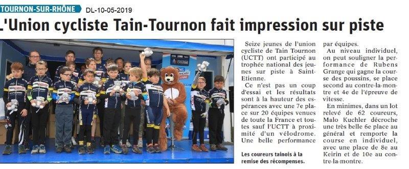 Le Dauphiné Libéré du 10-05-2019- L'Union cycliste Tain-Tournon