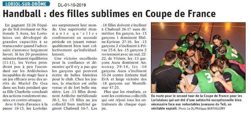 Dauphiné libéré du 01-10-2019- Les féminimes du Handball de Loriol