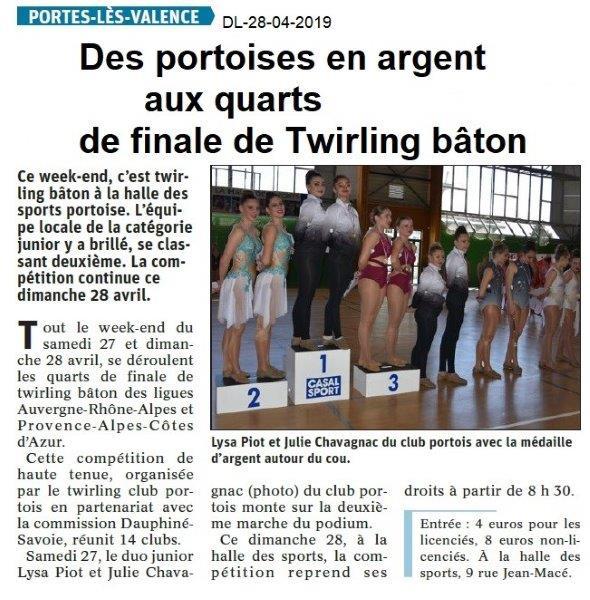 Le Dauphiné Libéré du 28-04-2019- Twirling à PLV