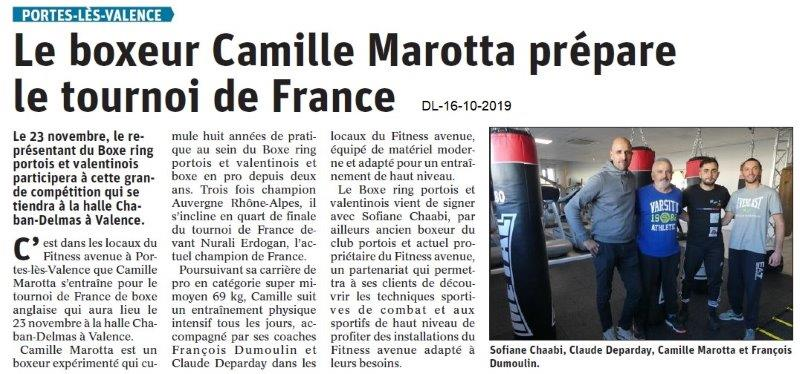 Dauphiné libéré du 16-10-2019-Boxe Ring Portois et Valentinois