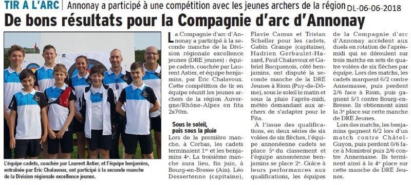 Dauphiné Libéré du 06-06-2018- Compagnie d'Arc d'Annonay