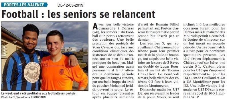 Le Dauphiné Libéré du 12-03-2019- Foot de Portes lès-Valence