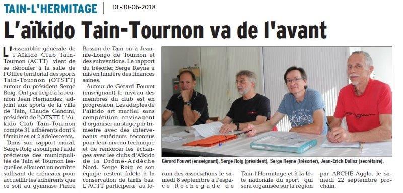 Dauphiné Libéré du 30-06-2018- L'Aïkido Tain-Tournon