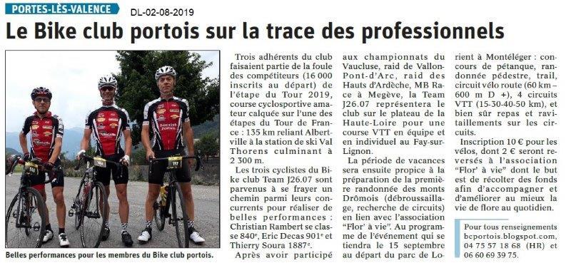 Dauphiné Libéré du 02-08-2019- Bike club Portois