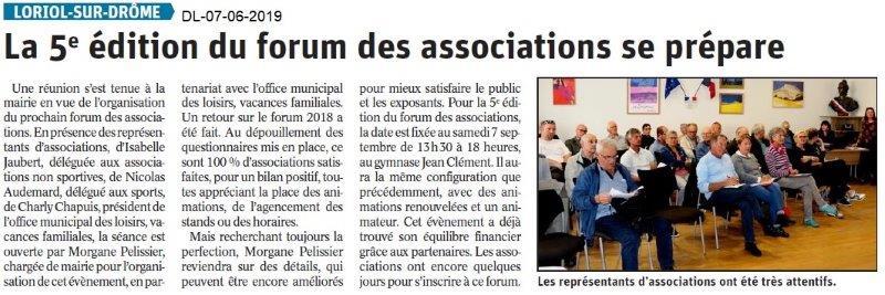 Dauphiné Libéré du 07-06-2019- Préparation du forum de Loriol
