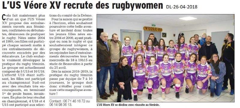Dauphiné Libéré du 26-04-2018-Véore XV rugby  recrute