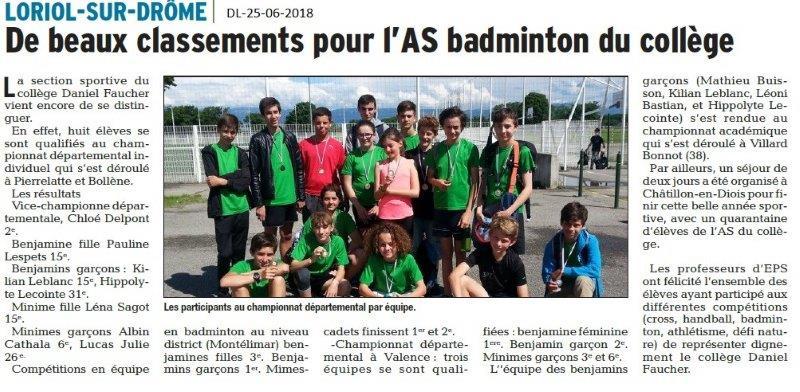 Dauphiné Libéré du 25-06-2018- Sport au collège