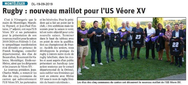 Dauphiné libéré du 19-09-2019- Nouveau malliot pour Véore XV de PLV