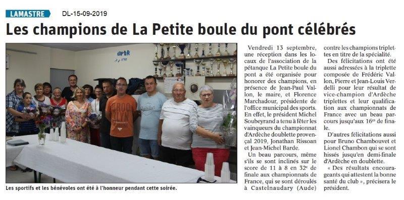 Dauphiné libéré du 15-09-2019- Petite Boule de Lamastre